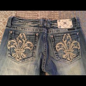 Miss Me Faded Fleur de Lis Bootcut Jeans